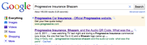 Google Results: Progressive Insurance Shazam