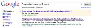 Google Results: Progressive Insurance Shazam
